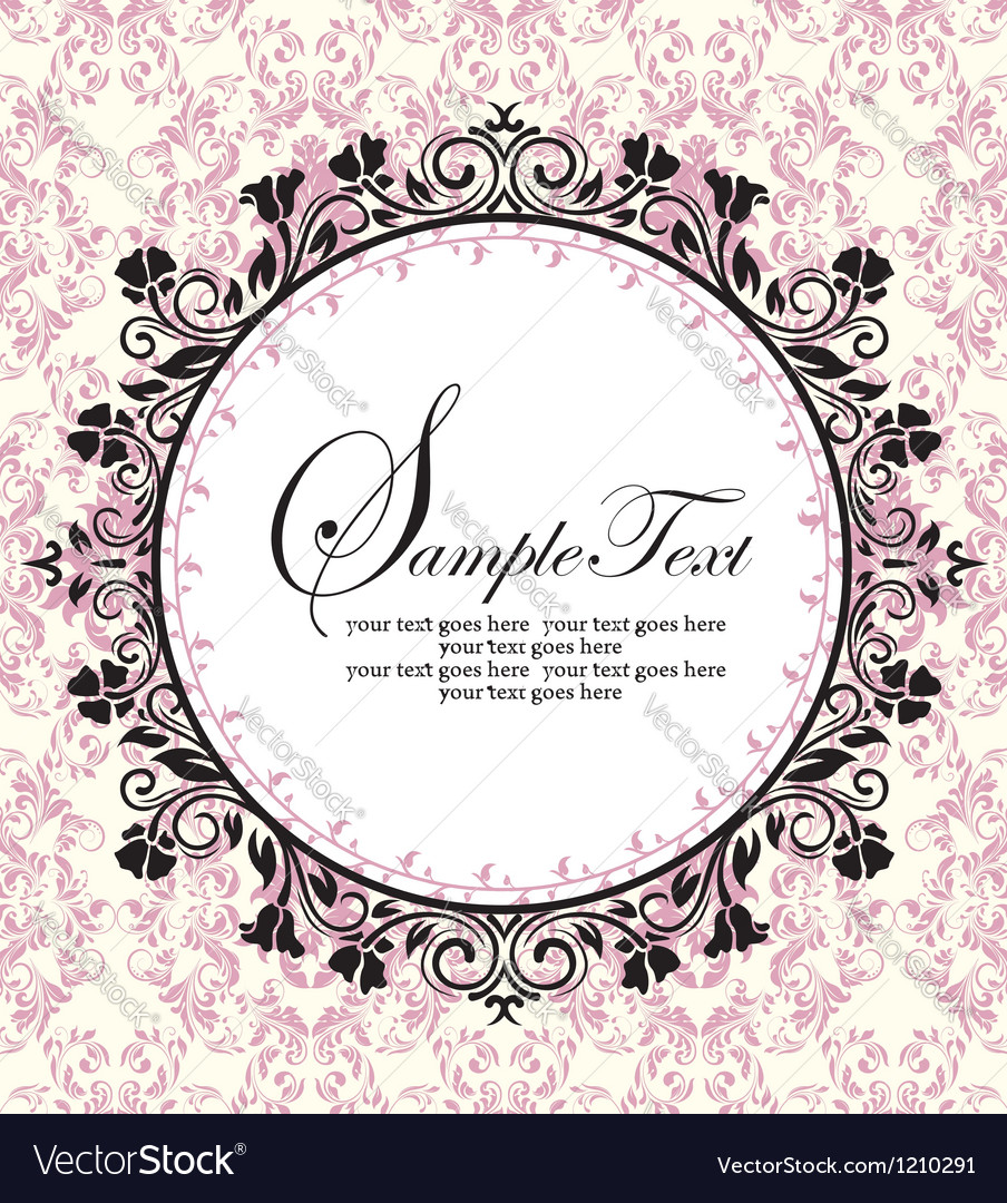 Ornate frame on pink damask background vector | Price: 1 Credit (USD $1)