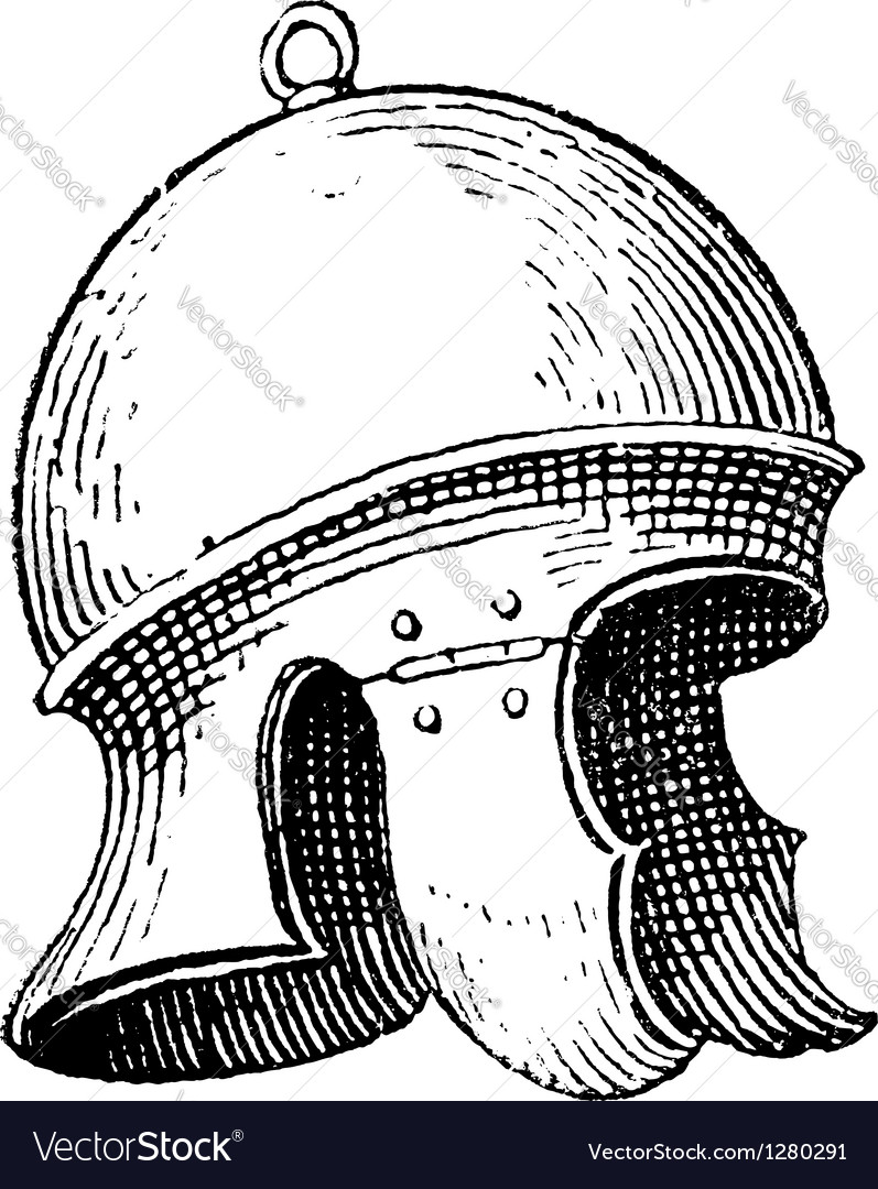 Roman legionnaires helmet engraving vector | Price: 1 Credit (USD $1)
