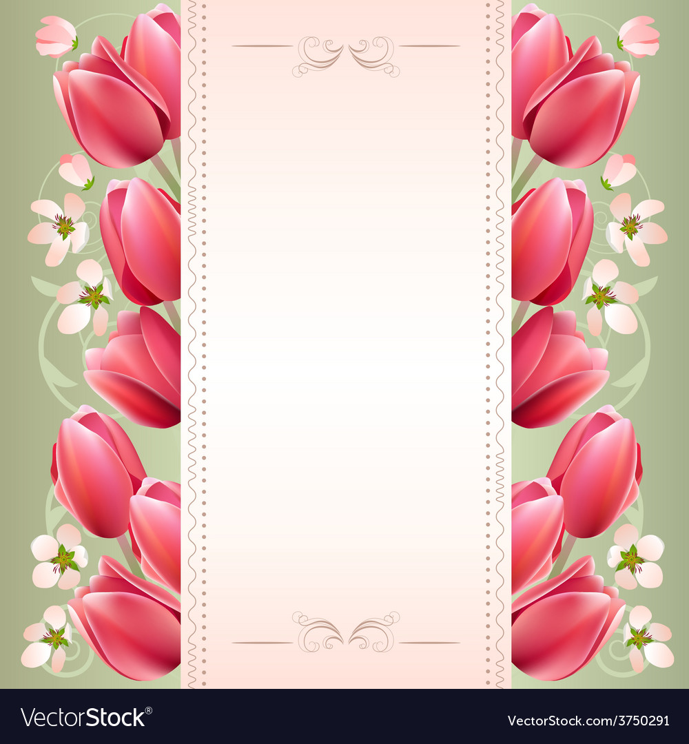Romantic spring background with tulips vector | Price: 1 Credit (USD $1)