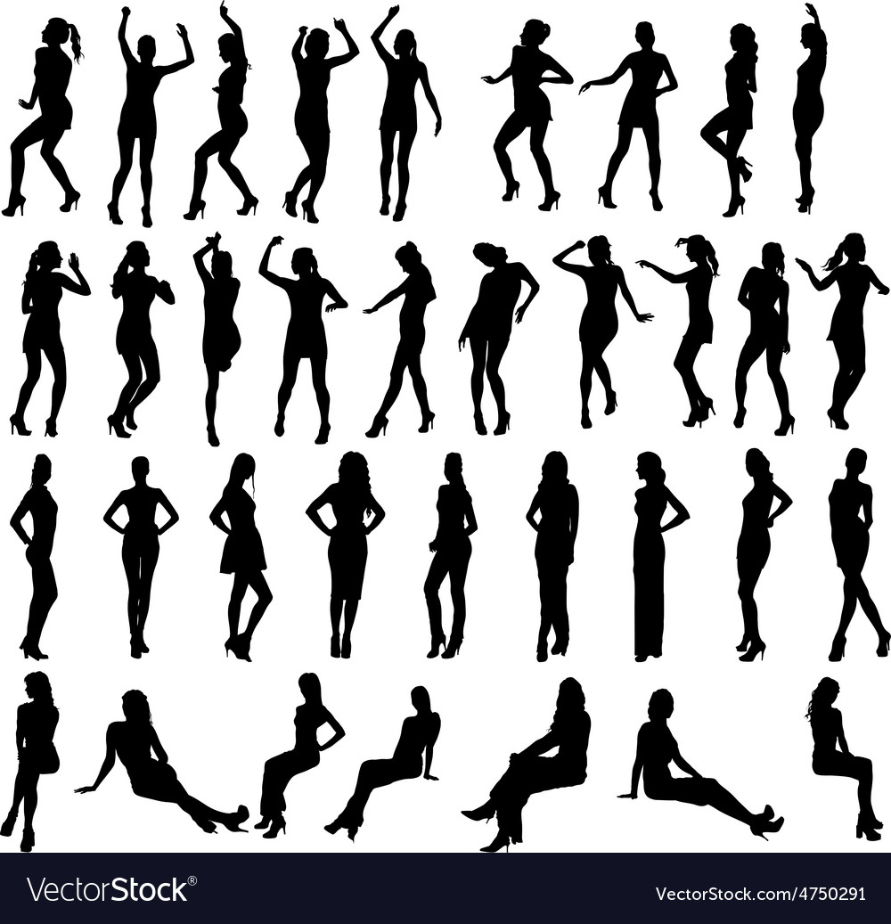Silhouettes of dancing standing and vector | Price: 1 Credit (USD $1)