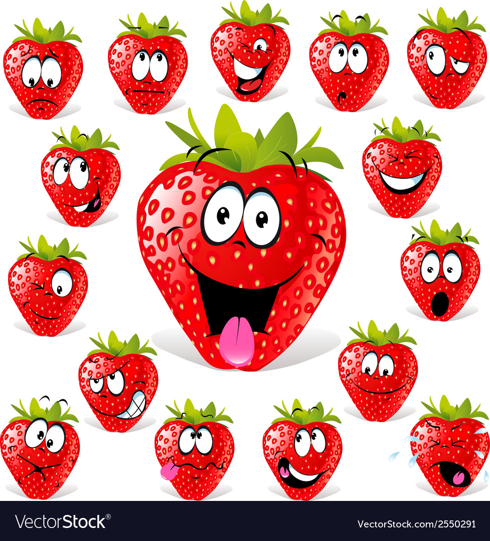Strawberry cartoon vector | Price: 1 Credit (USD $1)