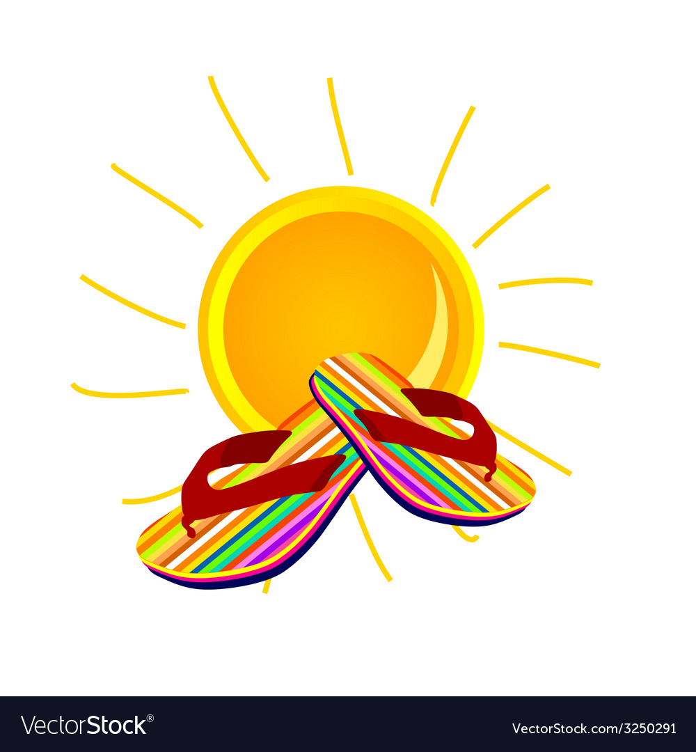 Sun with flip flop art vector | Price: 1 Credit (USD $1)