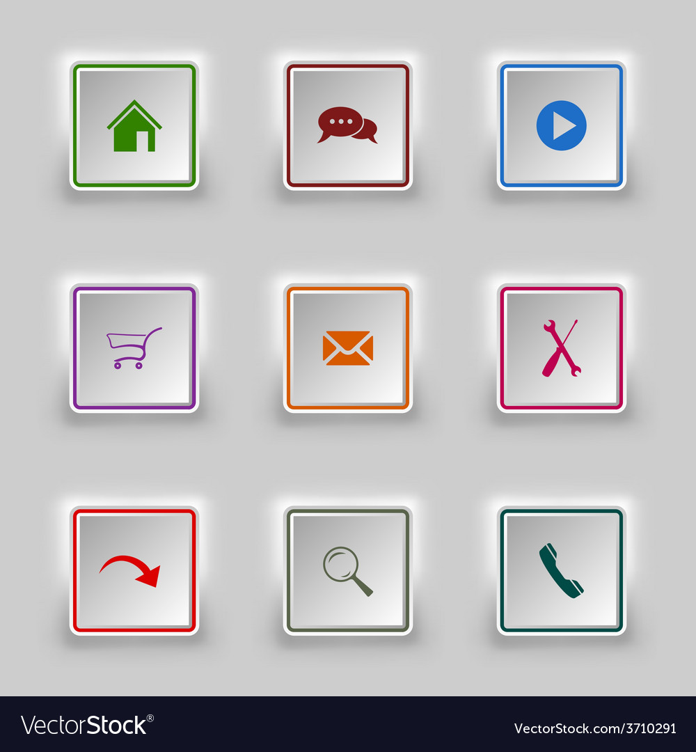 Surface color web buttons square template vector | Price: 1 Credit (USD $1)