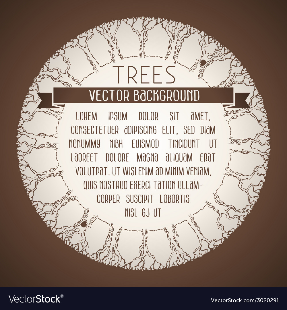 Vintage trees background vector | Price: 1 Credit (USD $1)