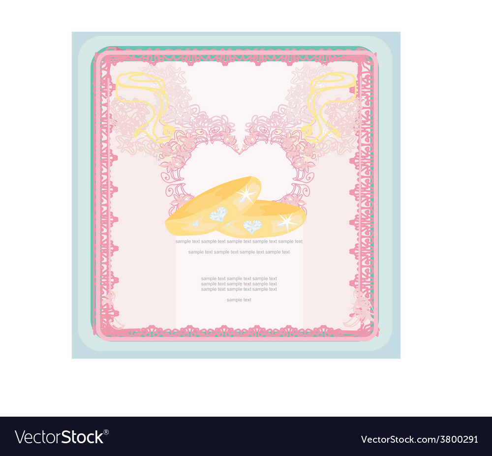 Wedding invitation card with rings vector | Price: 1 Credit (USD $1)