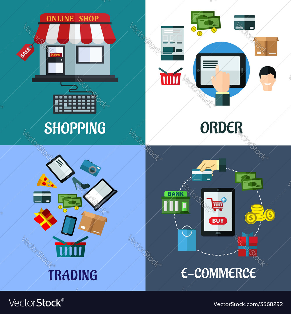 Business and shopping flat concept vector | Price: 1 Credit (USD $1)