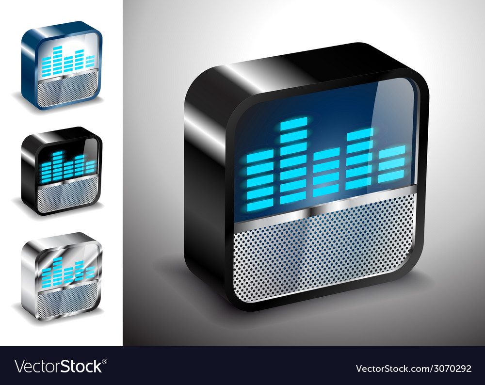 Button icons 3d equalizer radio vector | Price: 1 Credit (USD $1)