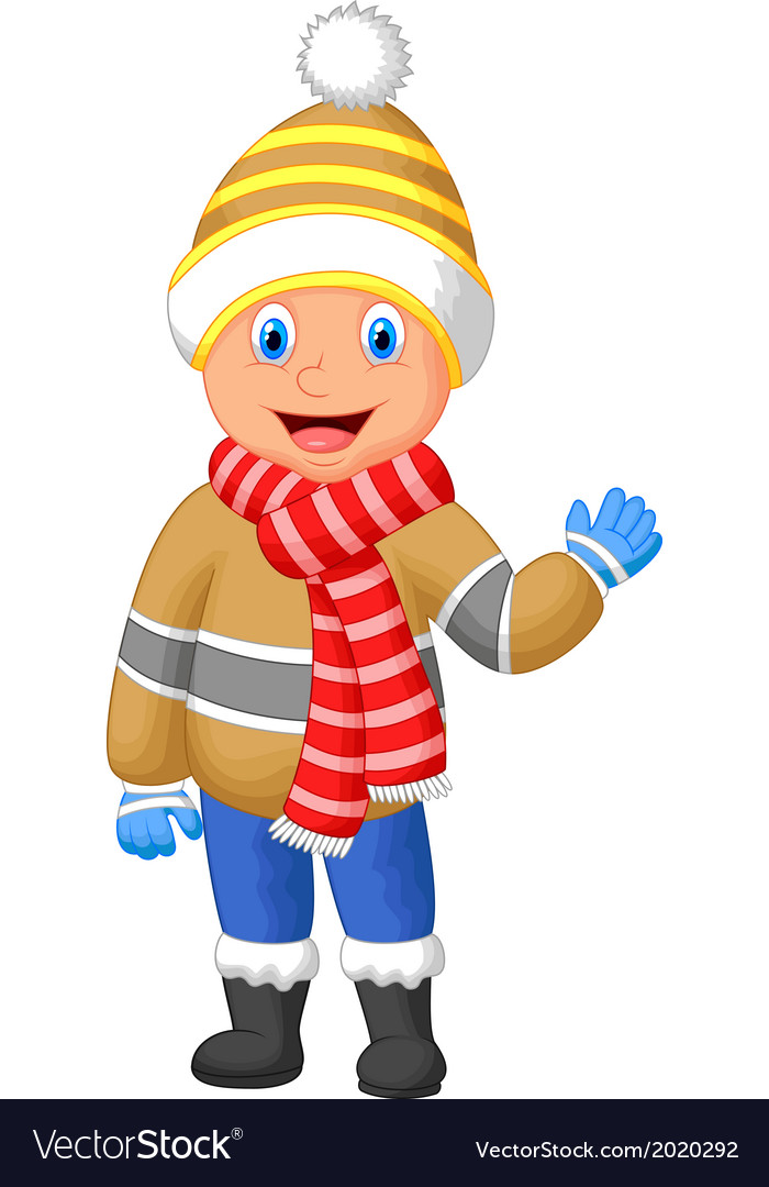 Cartoon a boy in winter clothes waving hand vector | Price: 1 Credit (USD $1)