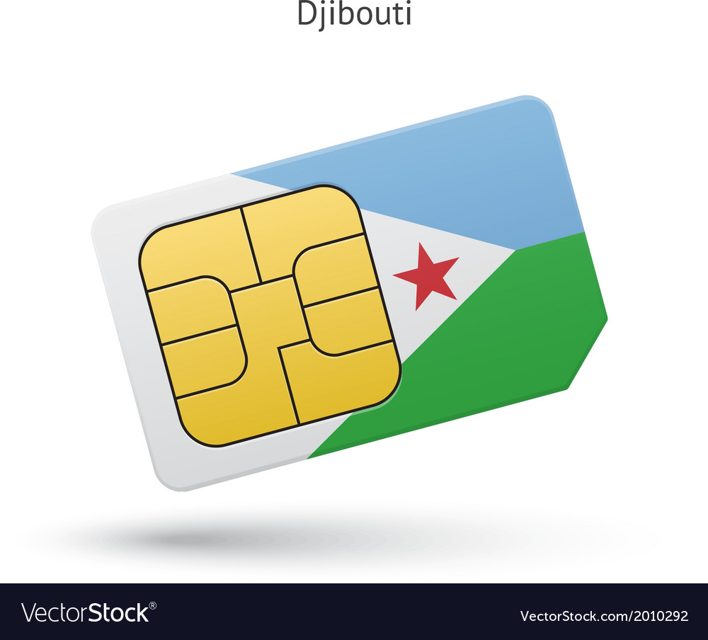 Djibouti mobile phone sim card with flag vector | Price: 1 Credit (USD $1)