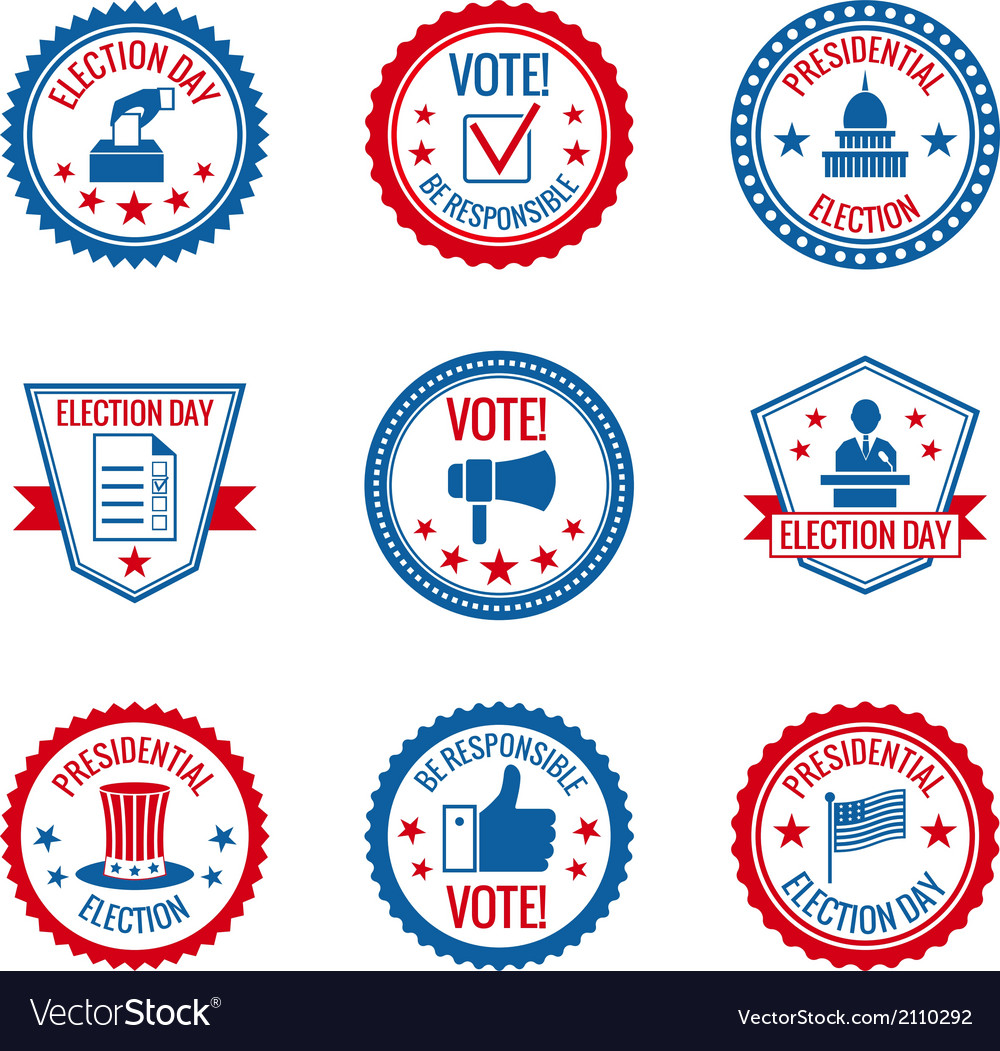 Elections labels set vector | Price: 1 Credit (USD $1)