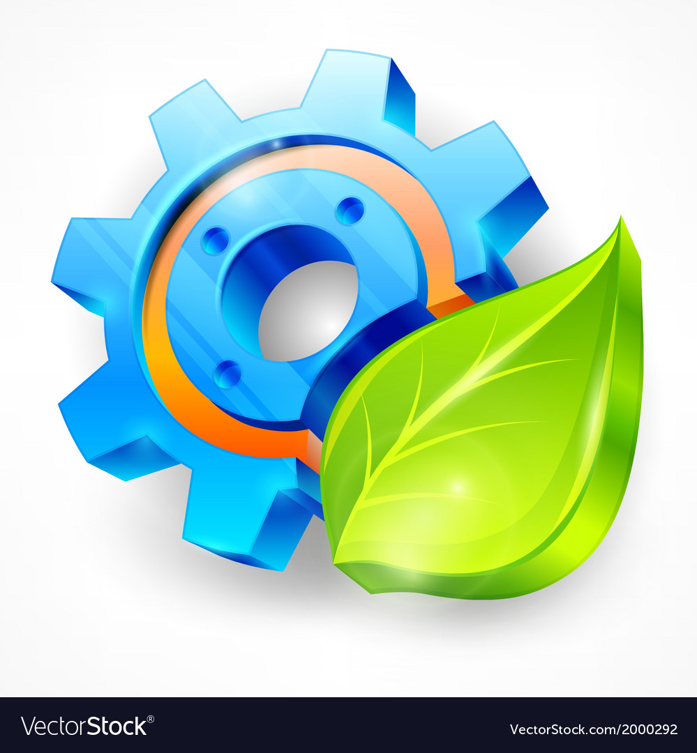 Gear and leaf vector | Price: 1 Credit (USD $1)