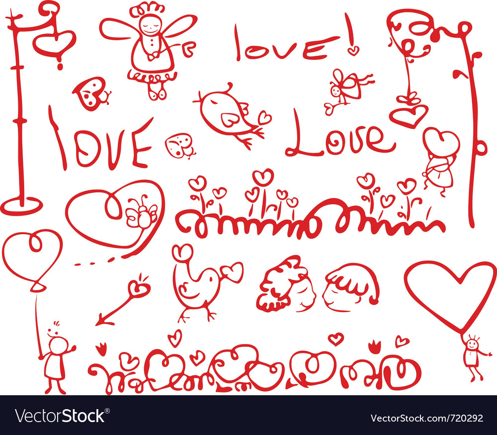Hand drawing love elements vector | Price: 1 Credit (USD $1)