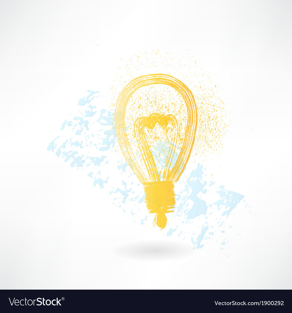 Lightbulb grunge icon vector   Price: 1 Credit (USD $1)