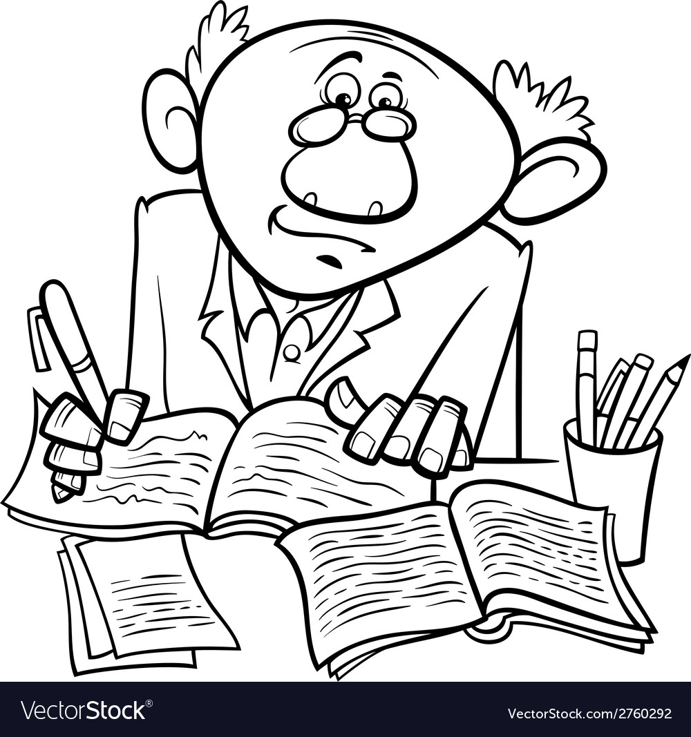 Professor or writer cartoon coloring page vector | Price: 1 Credit (USD $1)