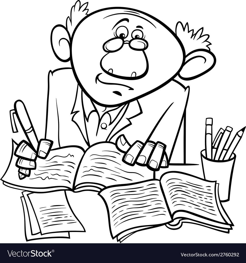Professor or writer cartoon coloring page vector   Price: 1 Credit (USD $1)