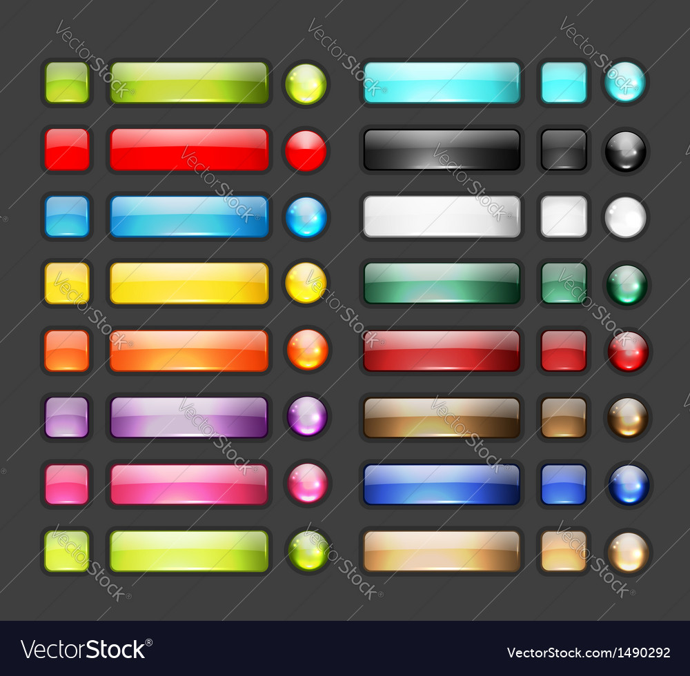 Set of glossy button icons for your design vector | Price: 1 Credit (USD $1)