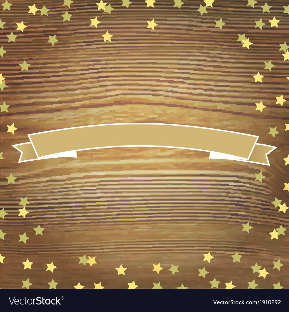 Wooden background with gold stars and banner vector | Price: 1 Credit (USD $1)