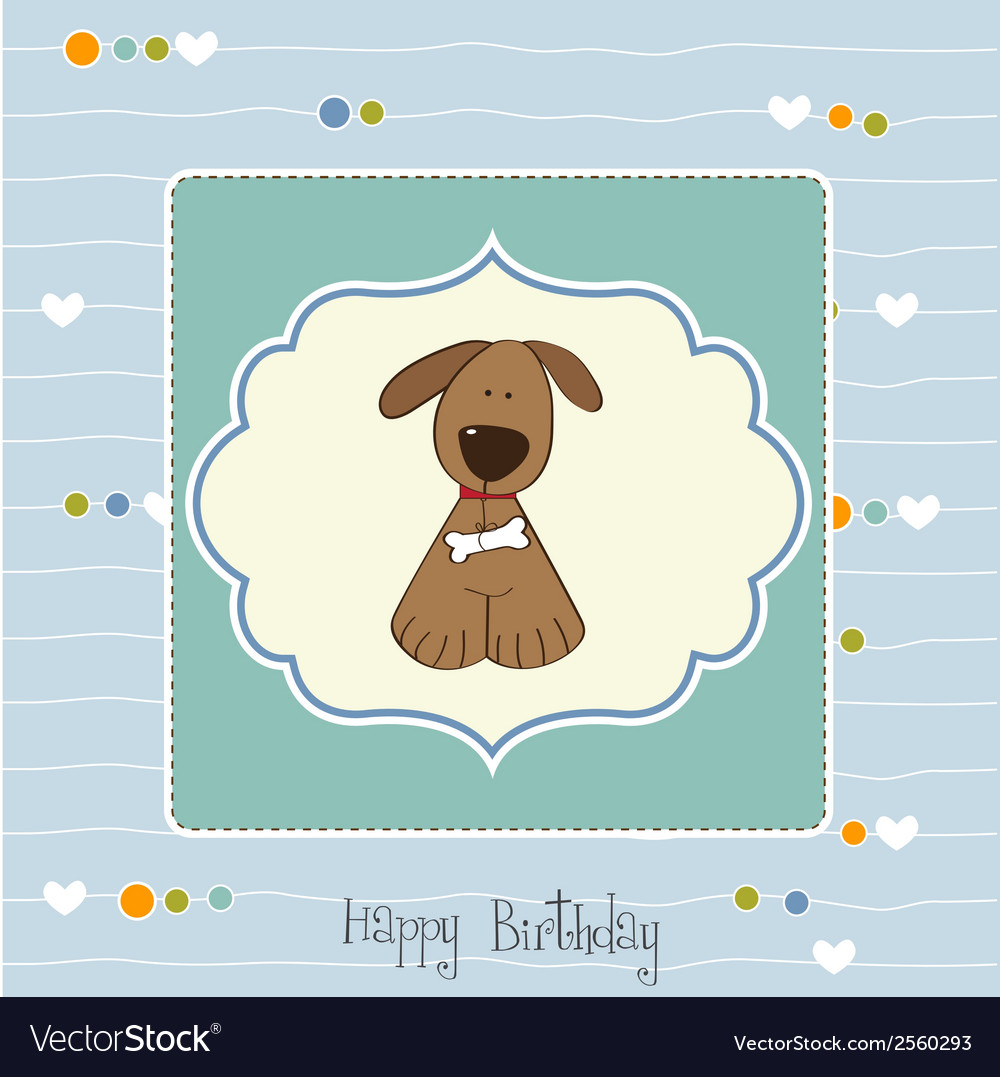 Birthday card with dog vector | Price: 1 Credit (USD $1)