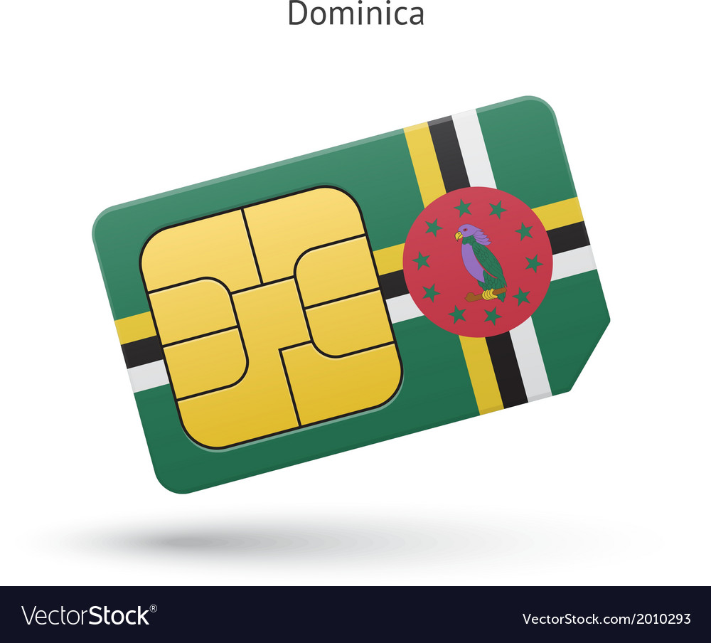 Dominica mobile phone sim card with flag vector | Price: 1 Credit (USD $1)
