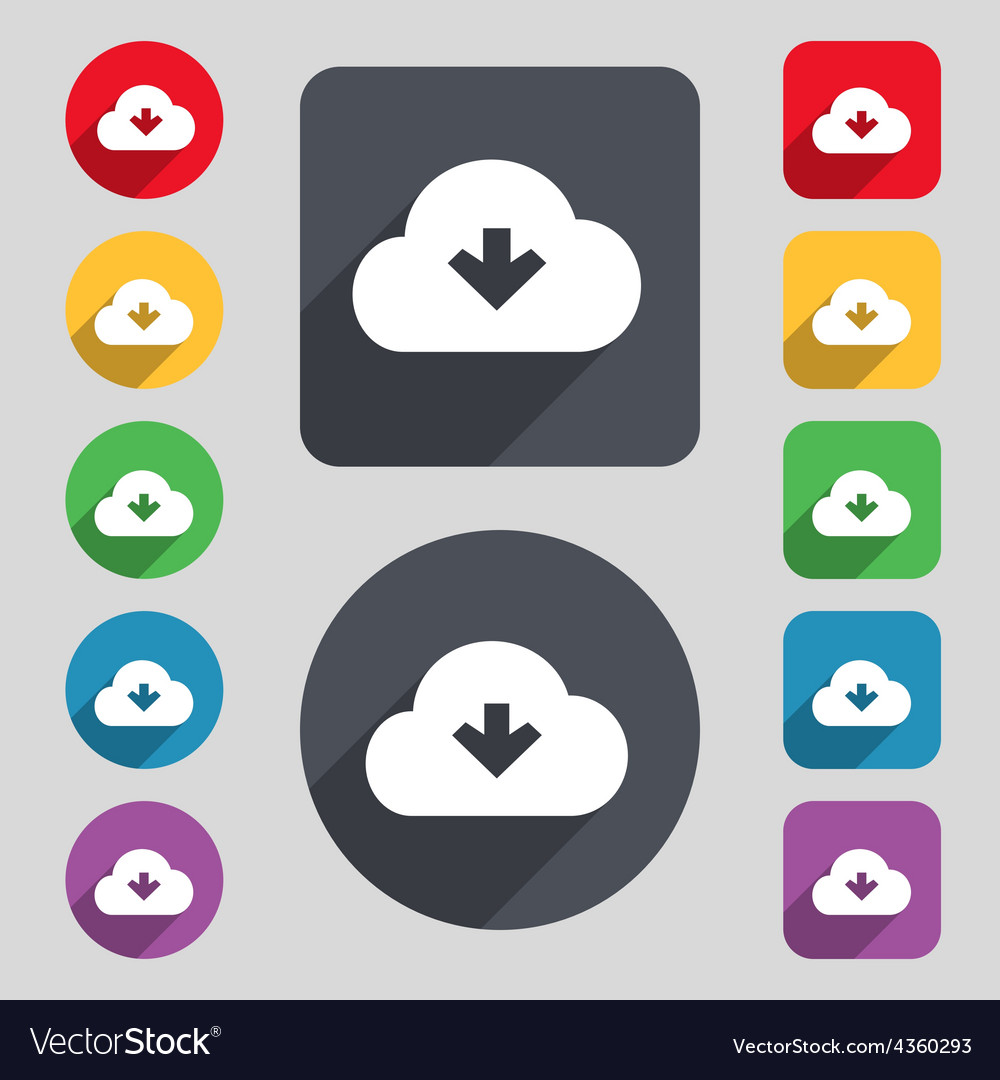 Download from cloud icon sign a set of 12 colored vector | Price: 1 Credit (USD $1)