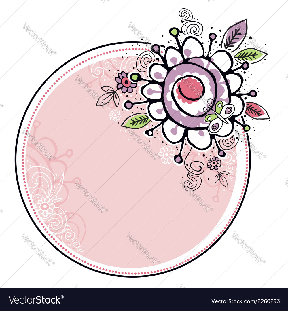 Hand draw flowers combine with circle frame vector | Price: 1 Credit (USD $1)