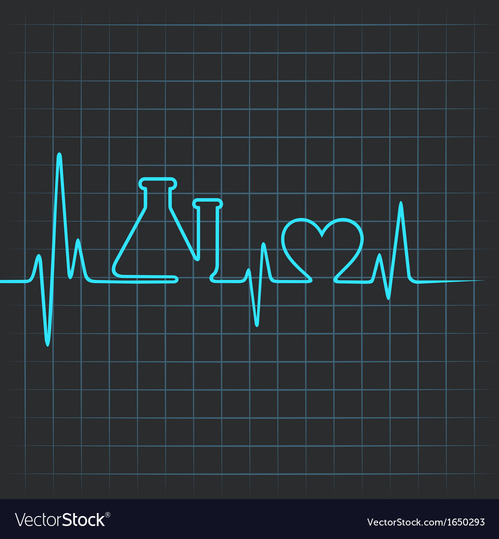 Heartbeat make testtube and heart symbol vector | Price: 1 Credit (USD $1)