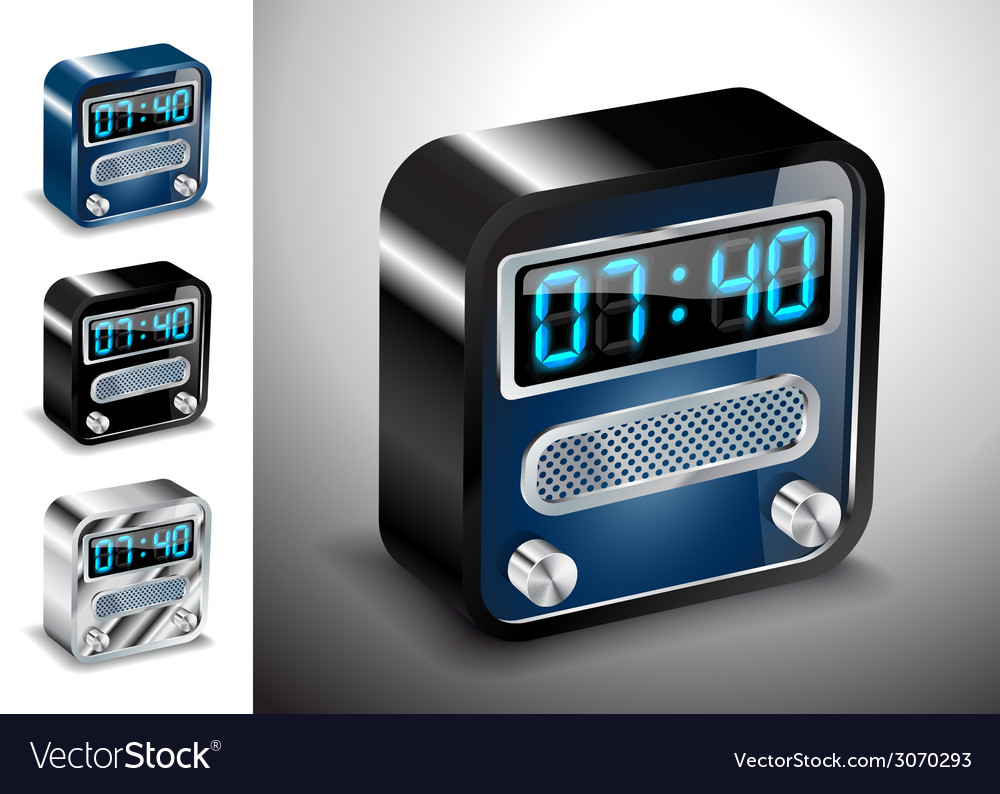 Icons button alarm clock vector | Price: 1 Credit (USD $1)