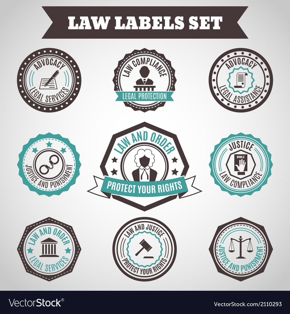 Law labels set vector | Price: 1 Credit (USD $1)