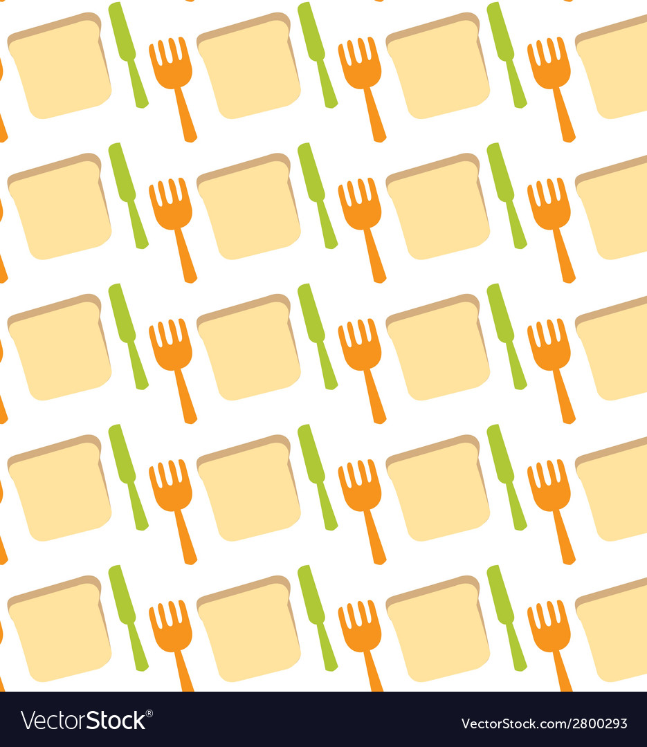 Pattern of toast fork knife meal food vector | Price: 1 Credit (USD $1)