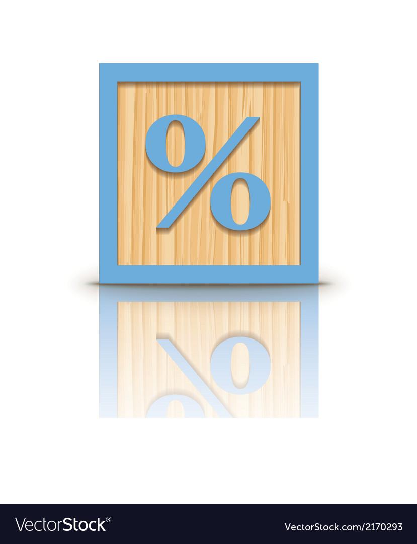 Percent sign wooden alphabet block vector | Price: 1 Credit (USD $1)