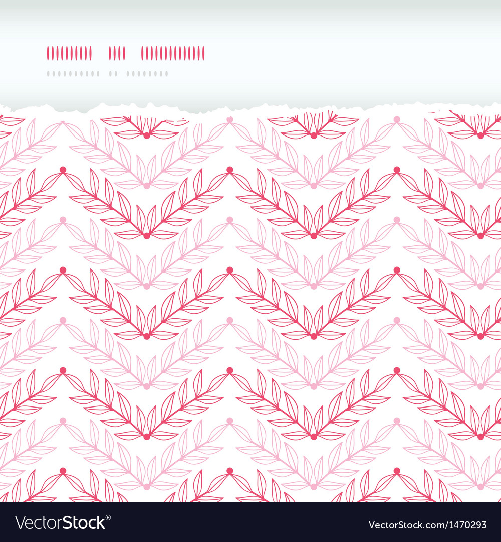 Pink lineart leaves chevron horizontal torn vector | Price: 1 Credit (USD $1)