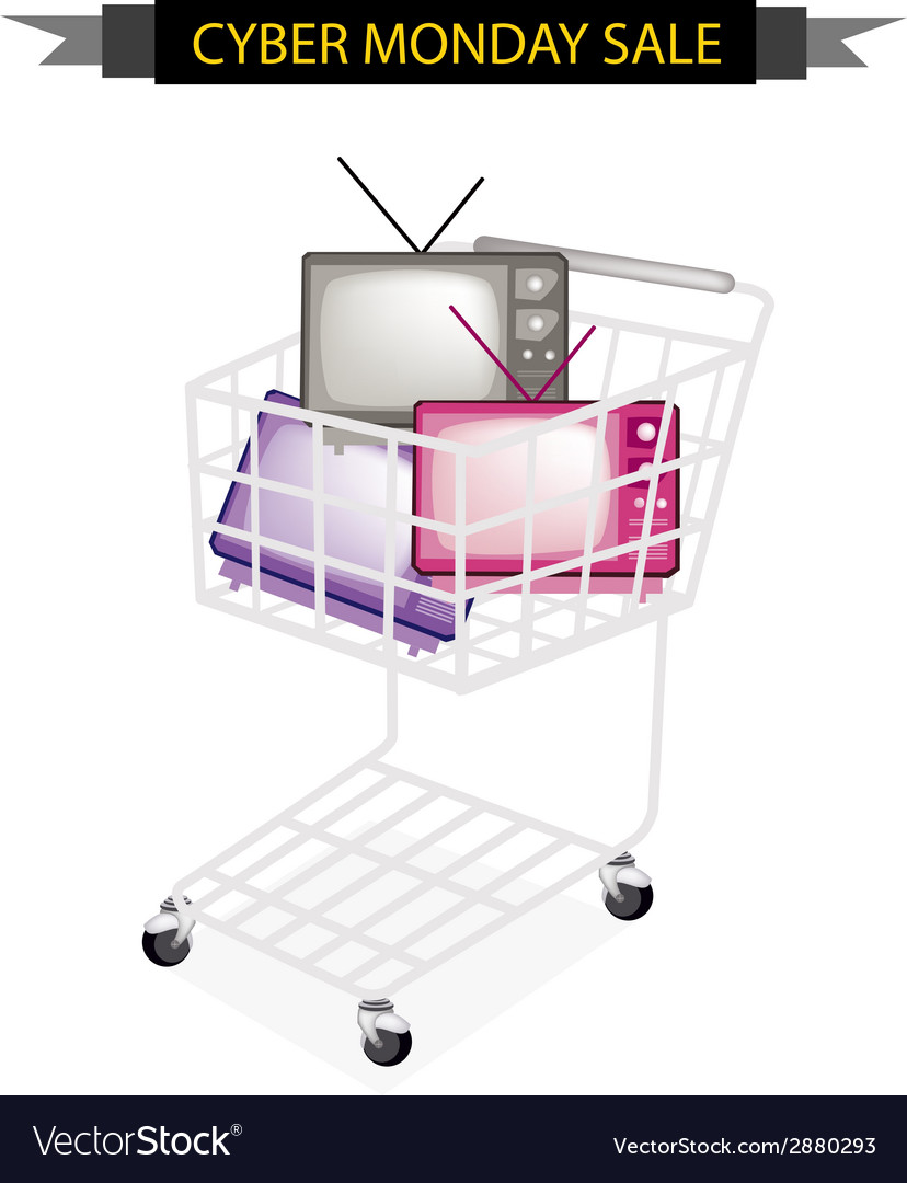 Retro television in cyber monday shopping cart vector | Price: 1 Credit (USD $1)