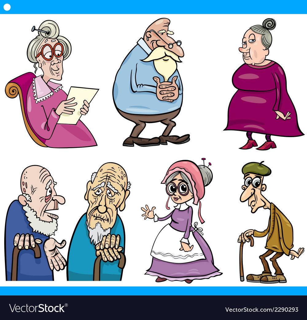 Seniors people set cartoon vector | Price: 1 Credit (USD $1)