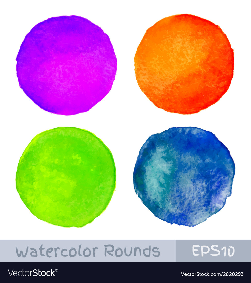 Set of colorful watercolor circular backgrounds vector | Price: 1 Credit (USD $1)