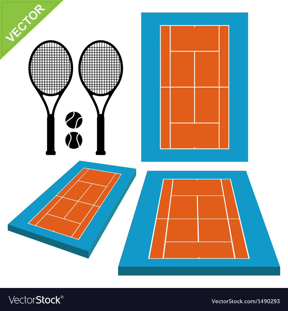 Tennis courts and tennis ball vector