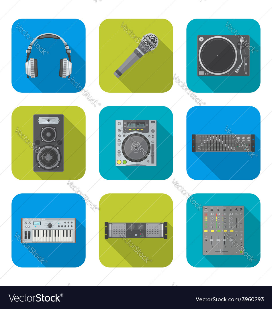 Various color flat style sound devices icons set vector | Price: 1 Credit (USD $1)