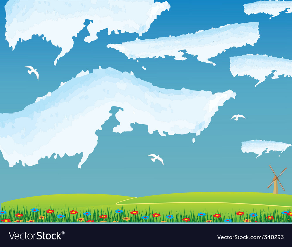 White clouds over the road vector   Price: 1 Credit (USD $1)