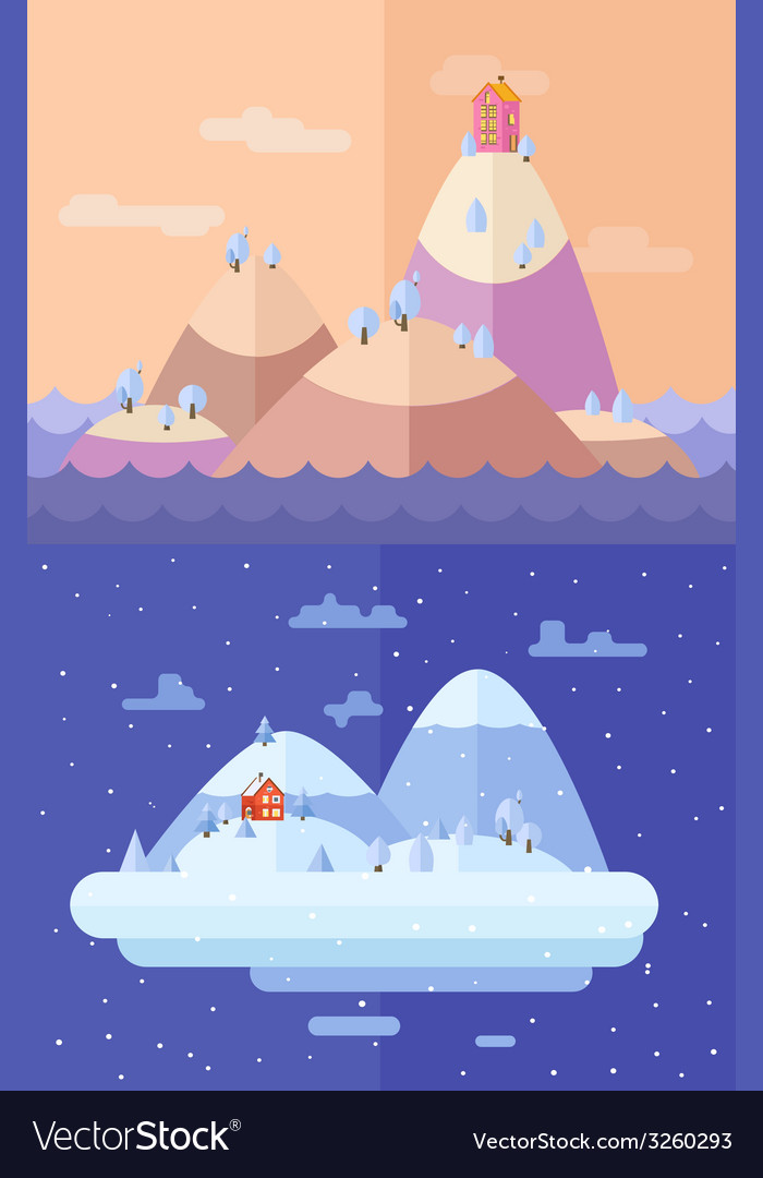 Winter nature christmas time flat vector | Price: 1 Credit (USD $1)