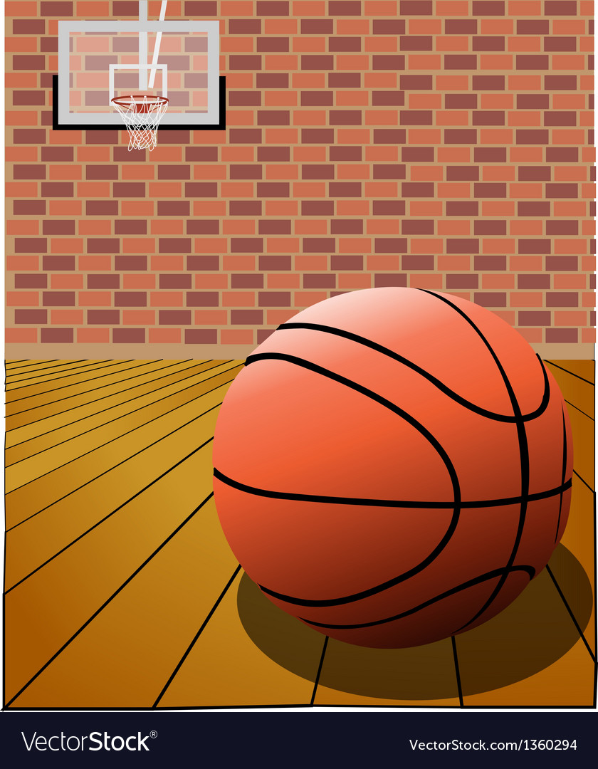 Basketball on the court vector | Price: 1 Credit (USD $1)