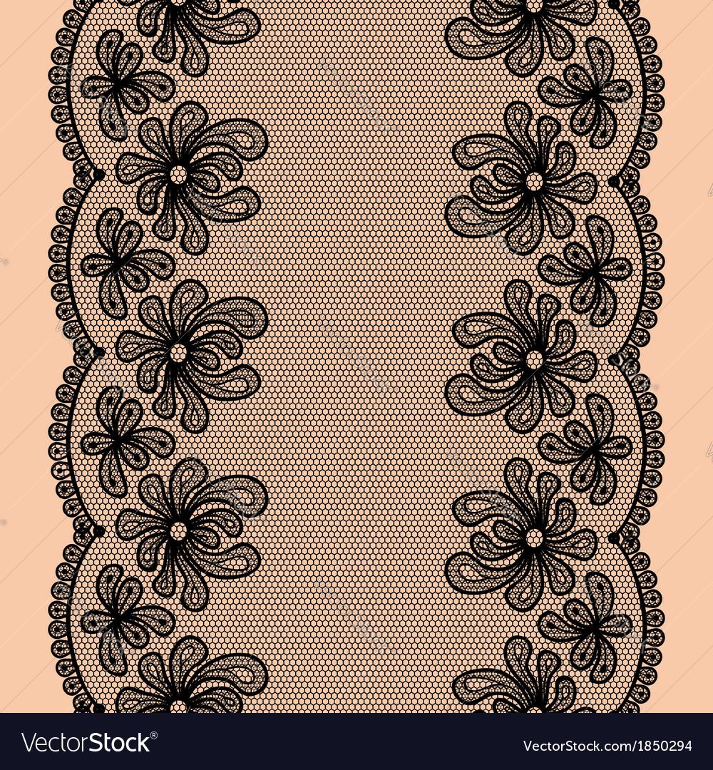 Black seamless lacy stripe vector