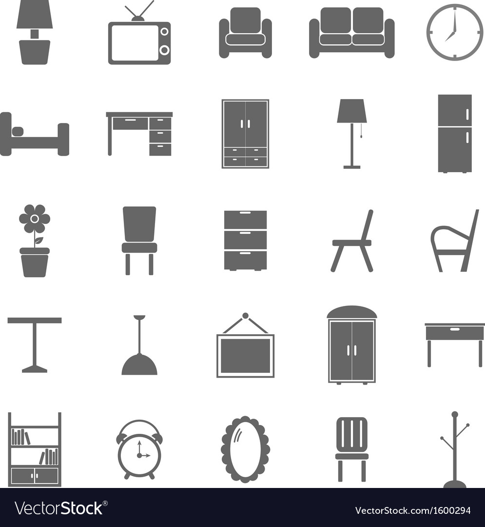Furniture icons on white background vector | Price: 1 Credit (USD $1)