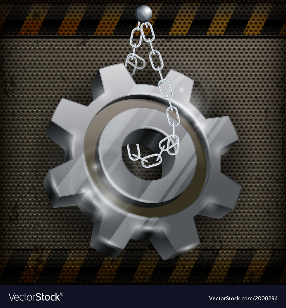 Gear with chain on metal vector | Price: 1 Credit (USD $1)