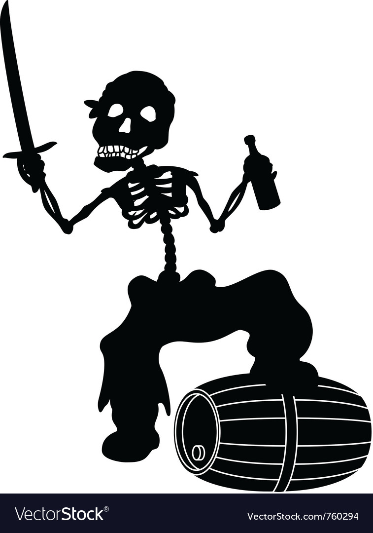 Jolly roger black silhouette vector | Price: 1 Credit (USD $1)
