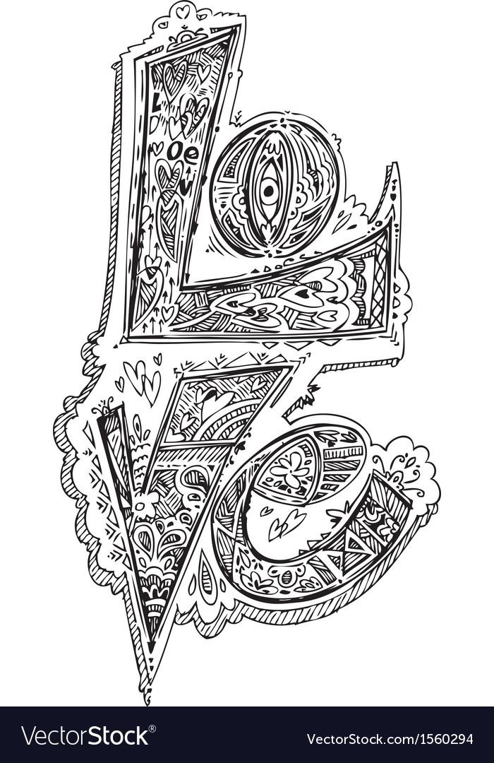 Love sketched doodles vector | Price: 1 Credit (USD $1)