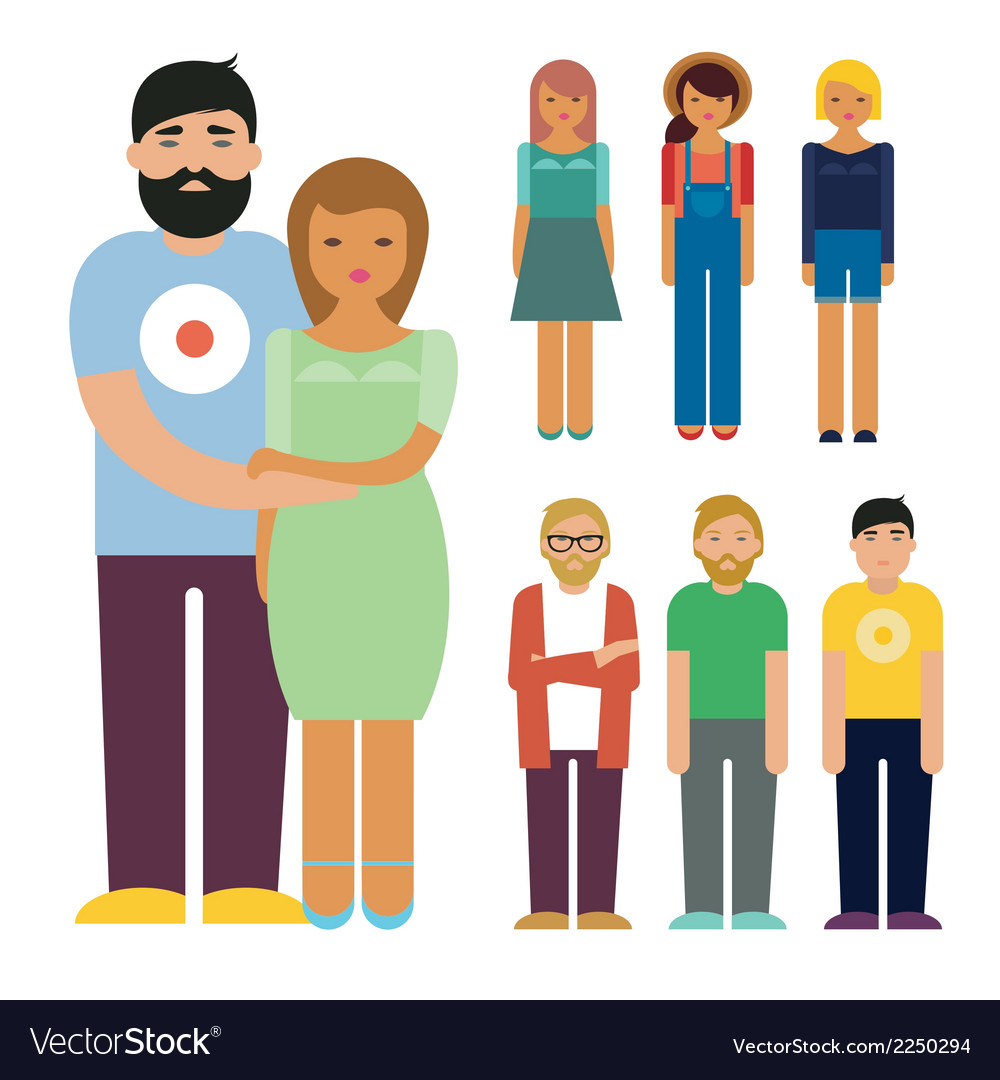 People characters set vector | Price: 1 Credit (USD $1)