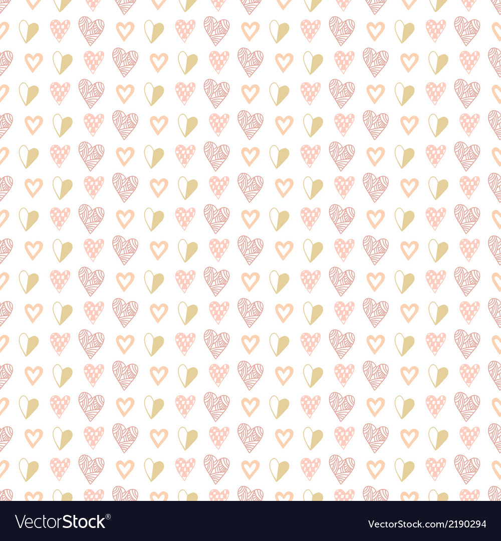 Seamless pattern of hand drawn hearts vector | Price: 1 Credit (USD $1)