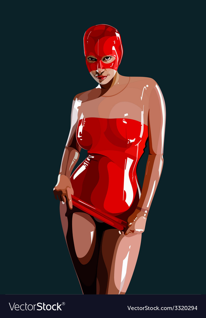 Sexy woman in red latex vector | Price: 3 Credit (USD $3)