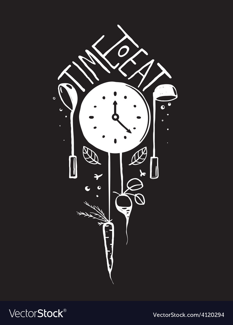 Time to eat sign and label monochrome design on vector | Price: 1 Credit (USD $1)