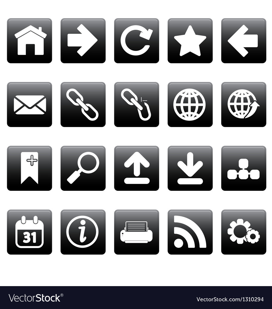White web icons on black squares vector   Price: 1 Credit (USD $1)