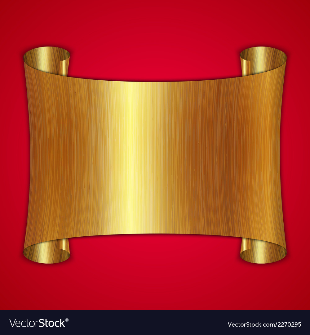 Abstract gold award scroll plate on red background vector | Price: 1 Credit (USD $1)